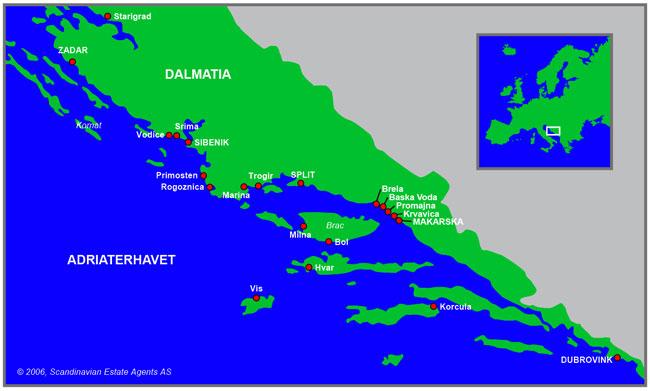 kart over kroatia Kart » Rogoznica, Kroatia   Kroatialeilighet.net kart over kroatia